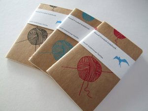 Handprinted knitting notebook by sarahwaterhouse