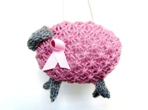 Knitted Sheep for Breast Cancer Awareness by ButtermilkCottage